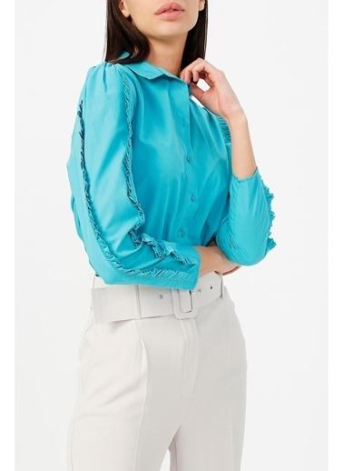 Random Kadın Fırfır Detaylı Uzun Kollu Gömlek Turkuaz